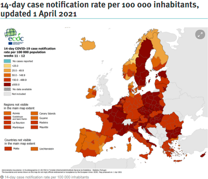 ECDC: 14-day case notification rate per 100000 inhabitants